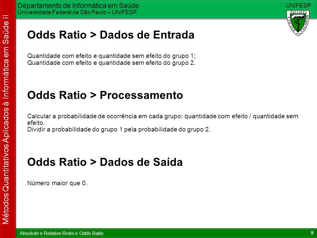 Departamento de Informática em Saúde Universidade Federal de São Paulo – UNIFESP UNIFESP 9 Métodos Quantitativos Aplicados à Informática em Saúde II Absolute e Relative Risks e Odds Ratio Odds Ratio > Interpretação N = 1, os grupos possuem o mesmo risco; N < 1, o grupo 1 possui menor risco que o grupo 2; N > 1, o grupo 1 possui maior risco que o grupo 2.