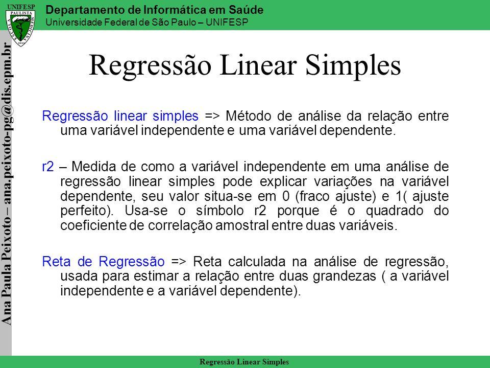 Ana Paula Peixoto – ana.peixoto-pg@dis.epm.br Departamento de Informática em Saúde Universidade Federal de São Paulo – UNIFESP UNIFESP Regressão Linear Simples Reta de Regressão De maneira geral, estaremos diante de um modelo de regressão linear simples quando a relação linear entre duas variáveis, X e Y, pode ser satisfatoriamente definida pela seguinte equação matemática: Y^ = a + b.
