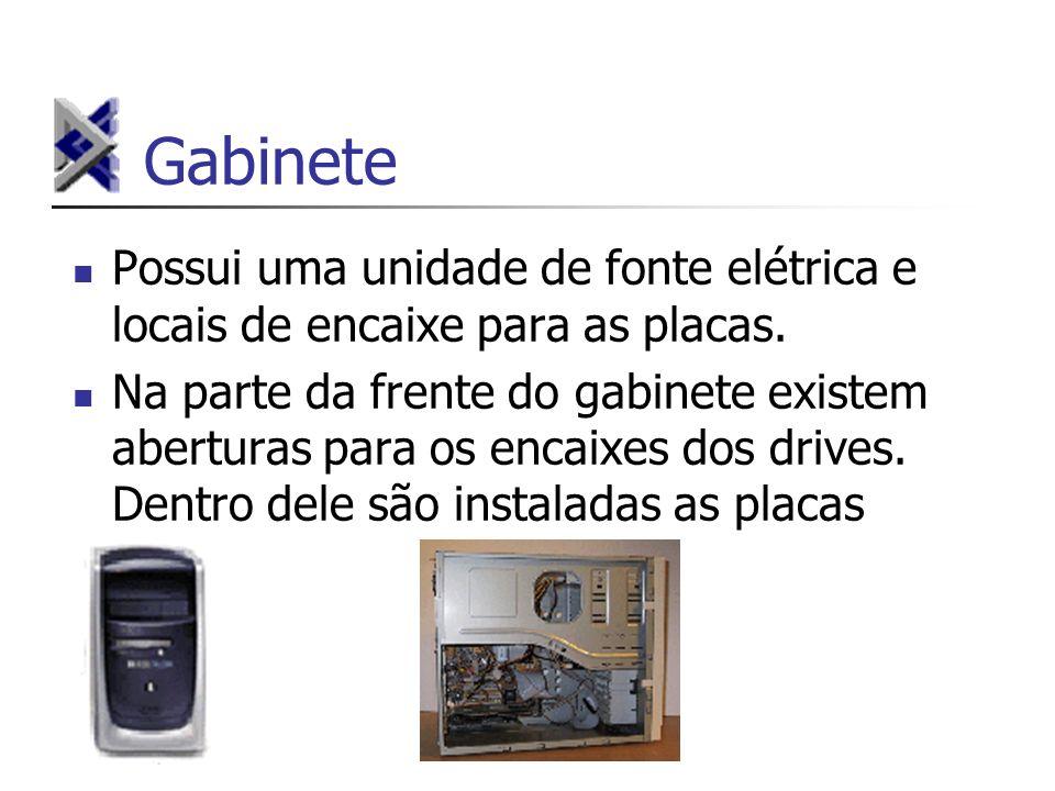 Gabinete Possui uma unidade de fonte elétrica e locais de encaixe para as placas. Na parte da frente do gabinete existem aberturas para os encaixes do