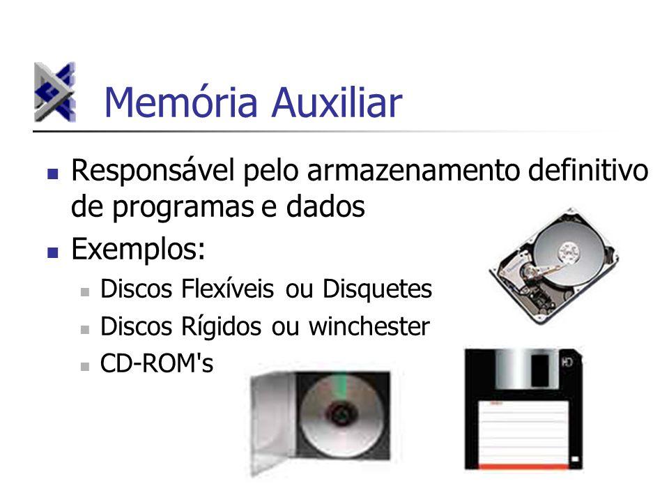 Memória Auxiliar Responsável pelo armazenamento definitivo de programas e dados Exemplos: Discos Flexíveis ou Disquetes Discos Rígidos ou winchester C