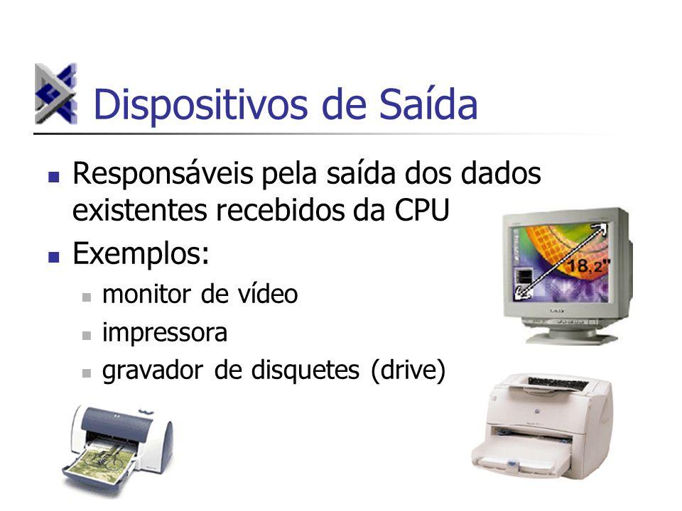 Dispositivos de Saída Responsáveis pela saída dos dados existentes recebidos da CPU Exemplos: monitor de vídeo impressora gravador de disquetes (drive