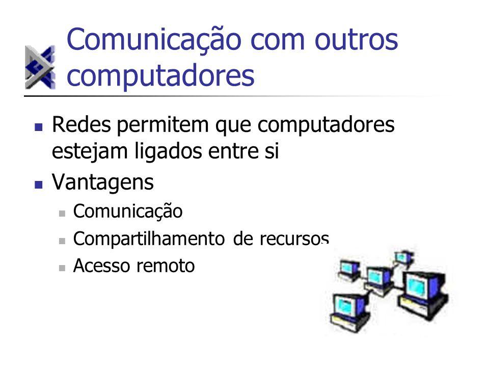 Comunicação com outros computadores Redes permitem que computadores estejam ligados entre si Vantagens Comunicação Compartilhamento de recursos Acesso