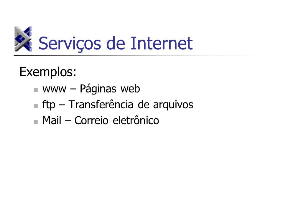 Serviços de Internet Exemplos: www – Páginas web ftp – Transferência de arquivos Mail – Correio eletrônico