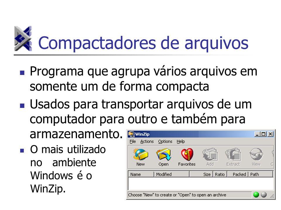 Compactadores de arquivos Programa que agrupa vários arquivos em somente um de forma compacta Usados para transportar arquivos de um computador para o