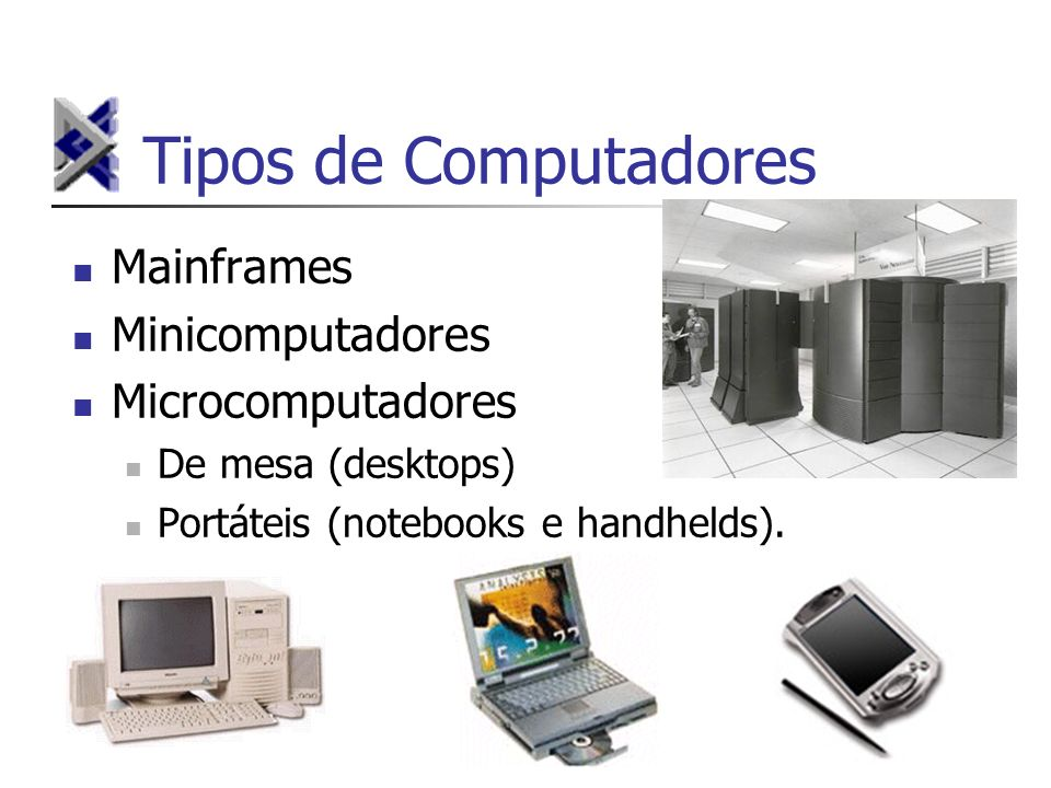 Tipos de Computadores Mainframes Minicomputadores Microcomputadores De mesa (desktops) Portáteis (notebooks e handhelds).