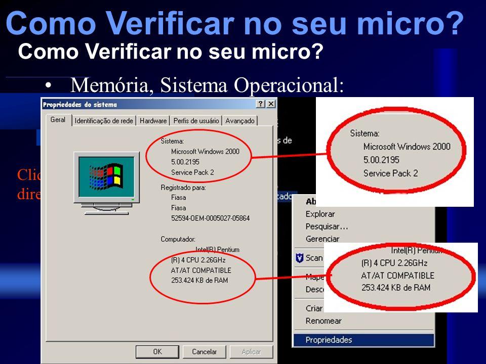 Como Verificar no seu micro? Marca de Micro, Processador, Monitor, Periféricos e Driver de disquete e Cds: Visível no próprio equipamento Como Verific