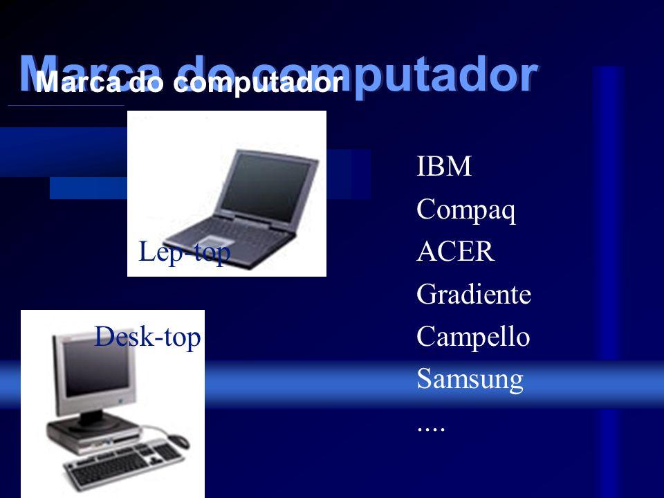 Principais elementos da configuração: Marca de micro (utilização e fabricante) Processador (tipo e velocidade) Memória (tamanho e tipo) Disco rígido (