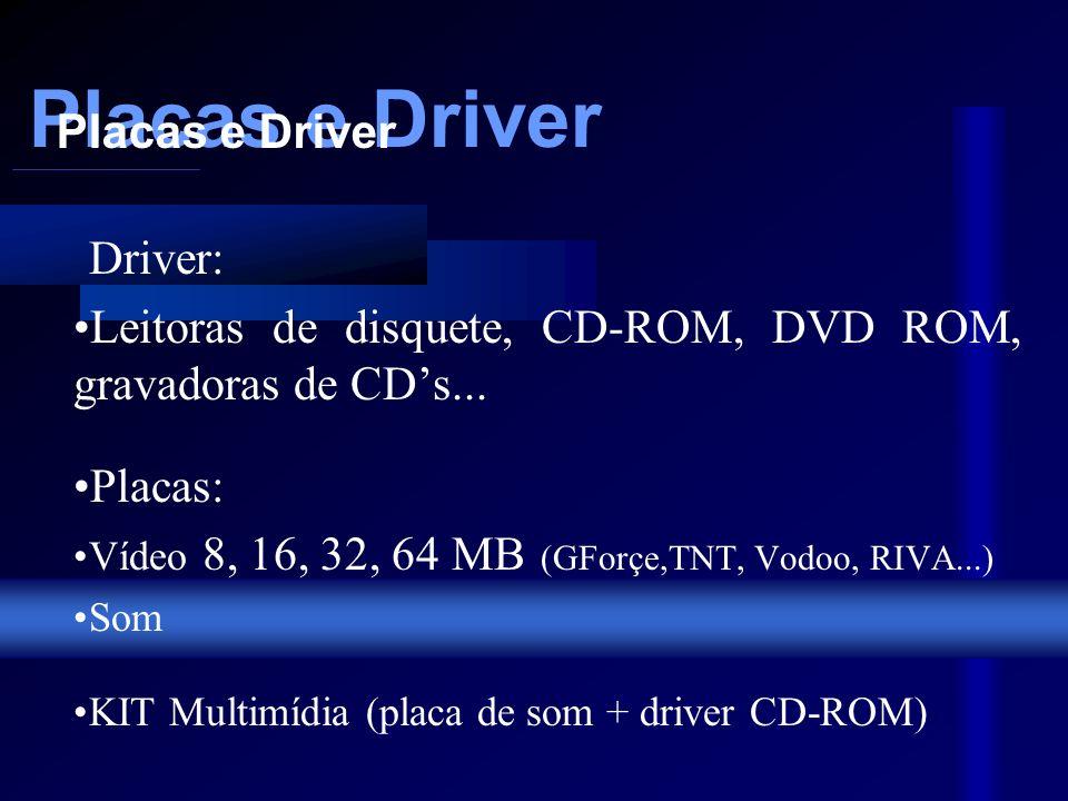 Placas e Driver Driver: Leitoras de disquete, CD-ROM, DVD ROM, gravadoras de CDs...
