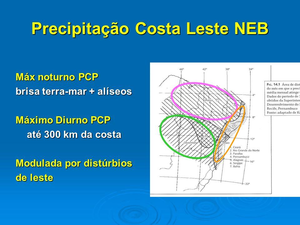 Precipitação Costa Leste NEB Máx noturno PCP brisa terra-mar + alíseos Máximo Diurno PCP até 300 km da costa Modulada por distúrbios de leste