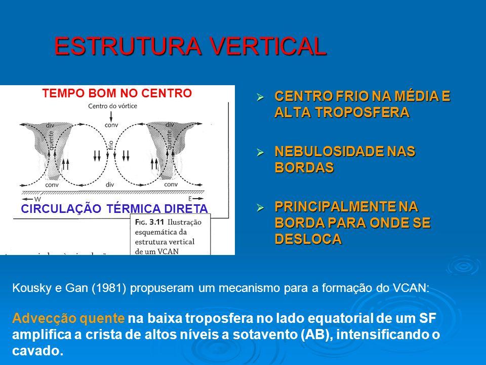 ESTRUTURA VERTICAL CENTRO FRIO NA MÉDIA E ALTA TROPOSFERA CENTRO FRIO NA MÉDIA E ALTA TROPOSFERA NEBULOSIDADE NAS BORDAS NEBULOSIDADE NAS BORDAS PRINC