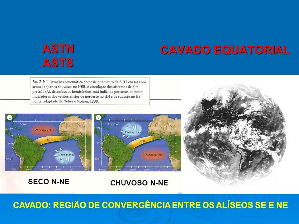 CAVADO EQUATORIAL CAVADO: REGIÃO DE CONVERGÊNCIA ENTRE OS ALÍSEOS SE E NE ASTNASTS SECO N-NE CHUVOSO N-NE