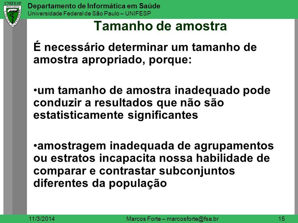 UNIFESP Departamento de Informática em Saúde Universidade Federal de São Paulo – UNIFESP UNIFESP Tamanho de amostra 11/3/2014Marcos Forte – marcosfort
