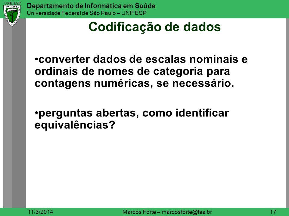 UNIFESP Departamento de Informática em Saúde Universidade Federal de São Paulo – UNIFESP UNIFESP Codificação de dados 11/3/2014Marcos Forte – marcosfo