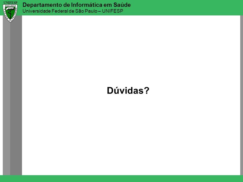 Departamento de Informática em Saúde Universidade Federal de São Paulo – UNIFESP UNIFESP Dúvidas?