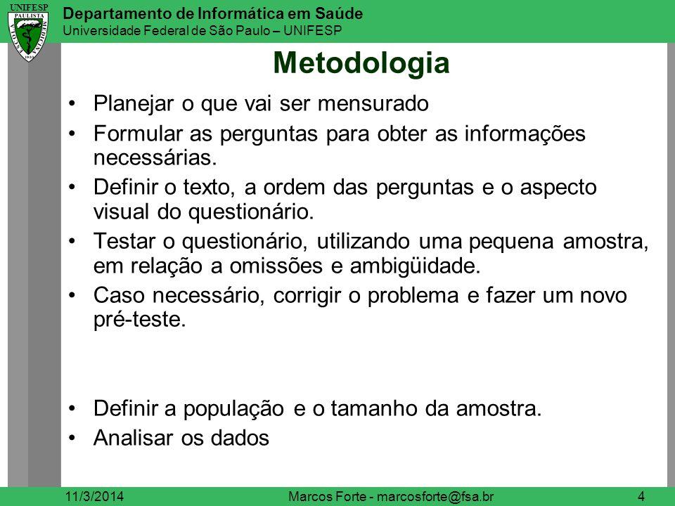 UNIFESP Departamento de Informática em Saúde Universidade Federal de São Paulo – UNIFESP UNIFESP Conteúdo das Perguntas 11/3/2014Marcos Forte - marcosforte@fsa.br5 O assunto exige uma pergunta separada, ou pode ser incluído em outras perguntas.