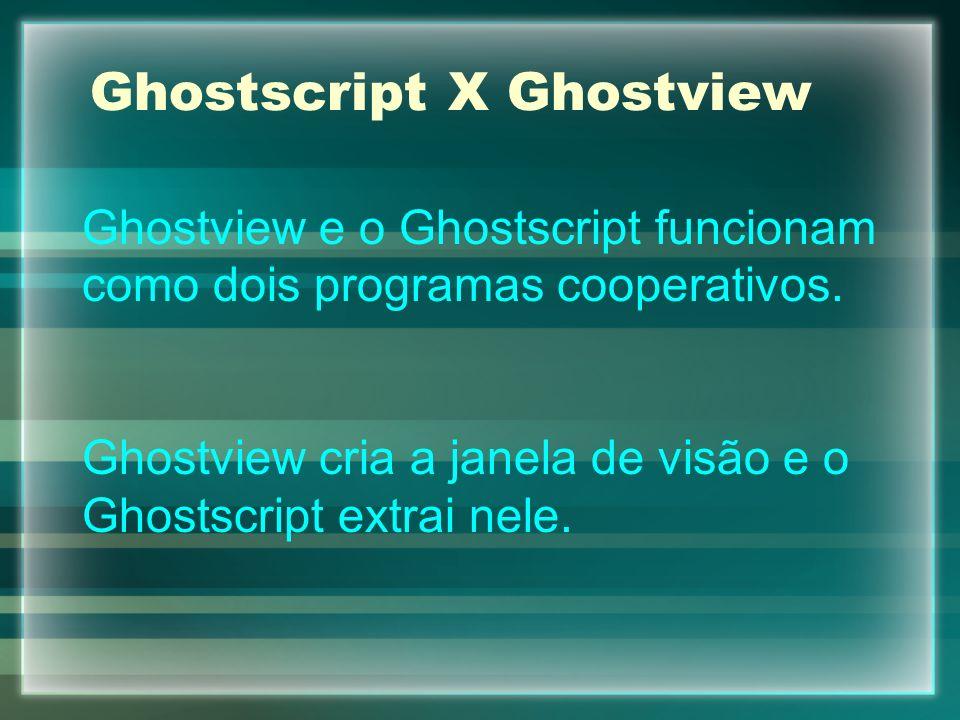 Ghostscript X Ghostview Ghostview e o Ghostscript funcionam como dois programas cooperativos. Ghostview cria a janela de visão e o Ghostscript extrai