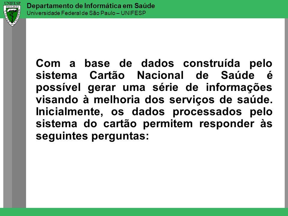 Departamento de Informática em Saúde Universidade Federal de São Paulo – UNIFESP UNIFESP Com a base de dados construída pelo sistema Cartão Nacional d