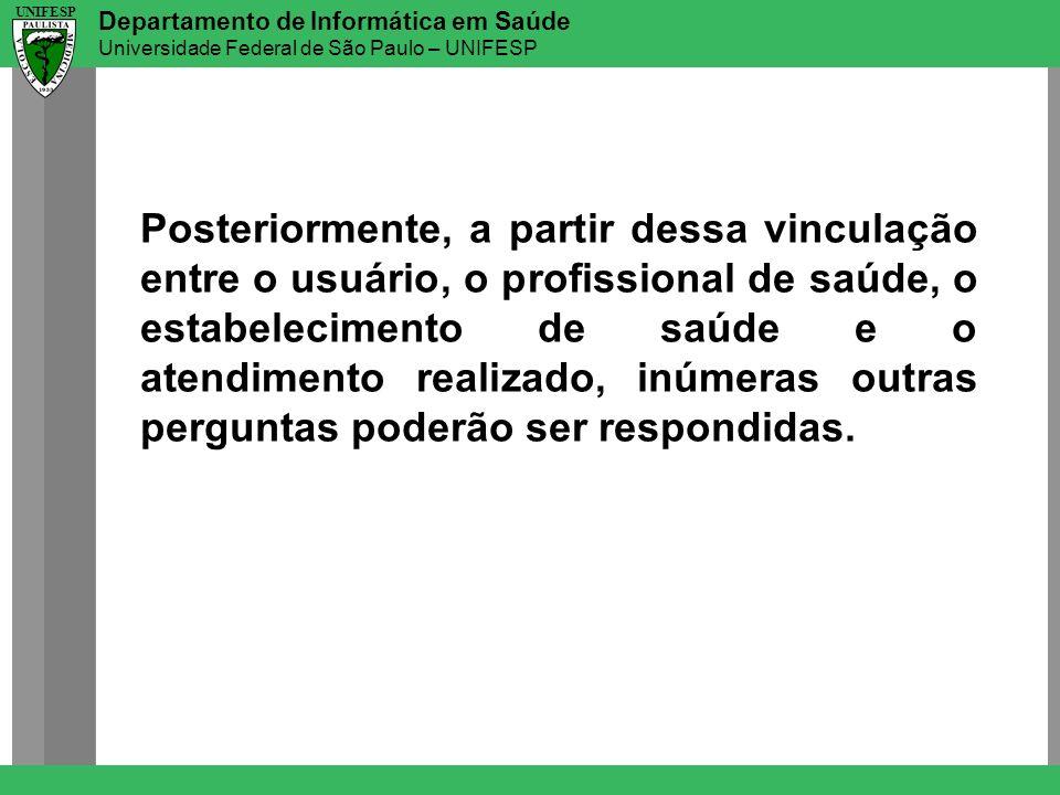 Departamento de Informática em Saúde Universidade Federal de São Paulo – UNIFESP UNIFESP Posteriormente, a partir dessa vinculação entre o usuário, o