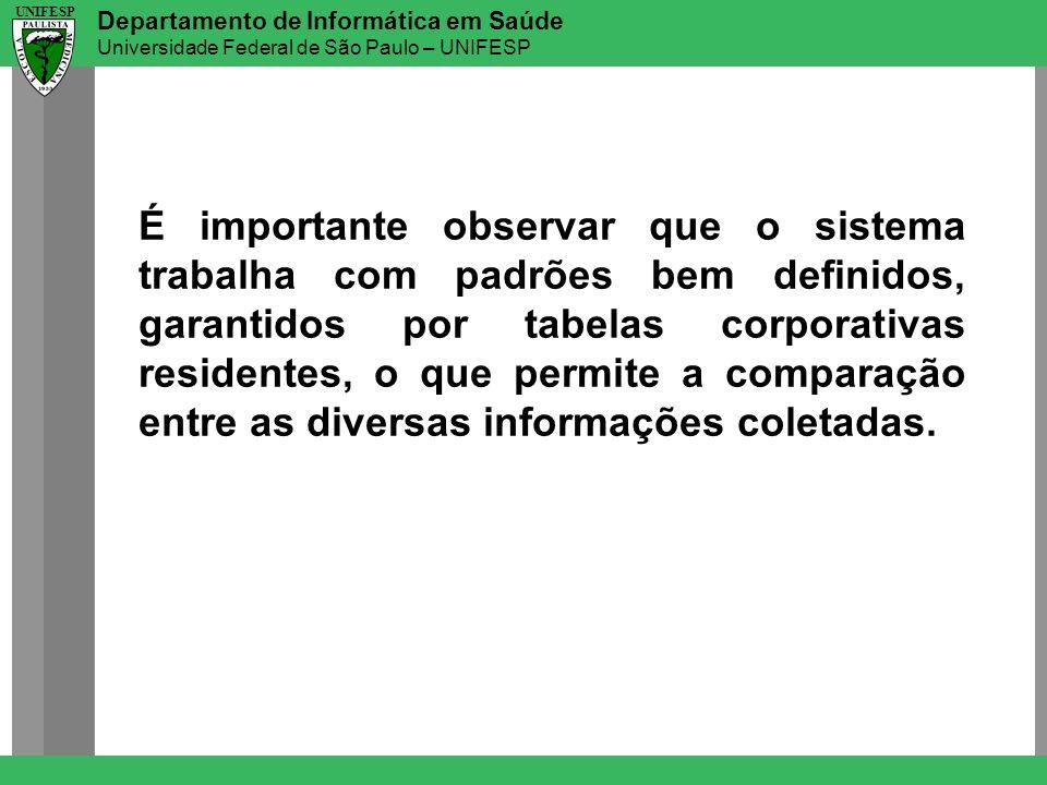 Departamento de Informática em Saúde Universidade Federal de São Paulo – UNIFESP UNIFESP É importante observar que o sistema trabalha com padrões bem