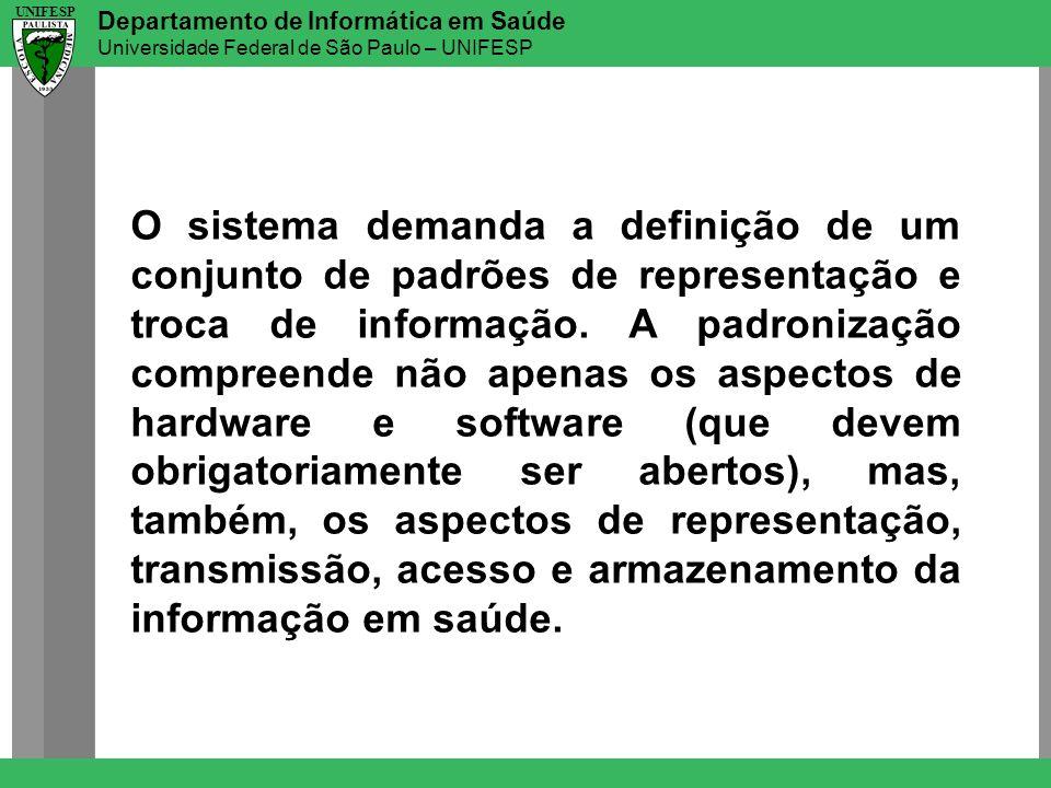 Departamento de Informática em Saúde Universidade Federal de São Paulo – UNIFESP UNIFESP O sistema demanda a definição de um conjunto de padrões de re