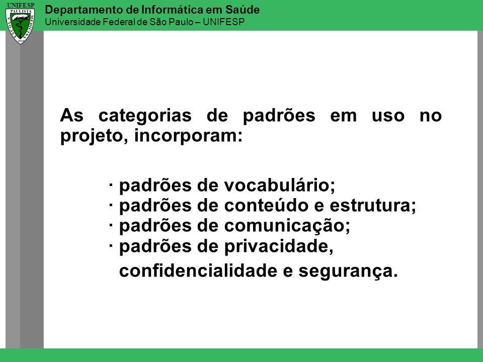 Departamento de Informática em Saúde Universidade Federal de São Paulo – UNIFESP UNIFESP As categorias de padrões em uso no projeto, incorporam: · pad