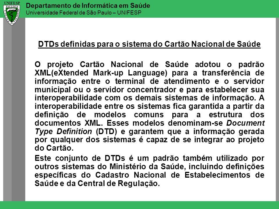 Departamento de Informática em Saúde Universidade Federal de São Paulo – UNIFESP UNIFESP DTDs definidas para o sistema do Cartão Nacional de Saúde O p