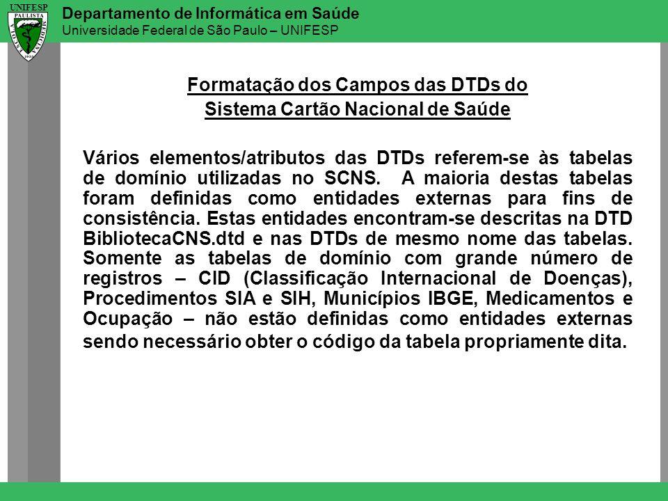 Departamento de Informática em Saúde Universidade Federal de São Paulo – UNIFESP UNIFESP Formatação dos Campos das DTDs do Sistema Cartão Nacional de