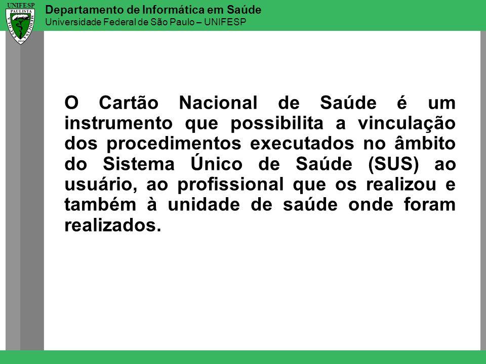 Departamento de Informática em Saúde Universidade Federal de São Paulo – UNIFESP UNIFESP O Cartão Nacional de Saúde é um instrumento que possibilita a