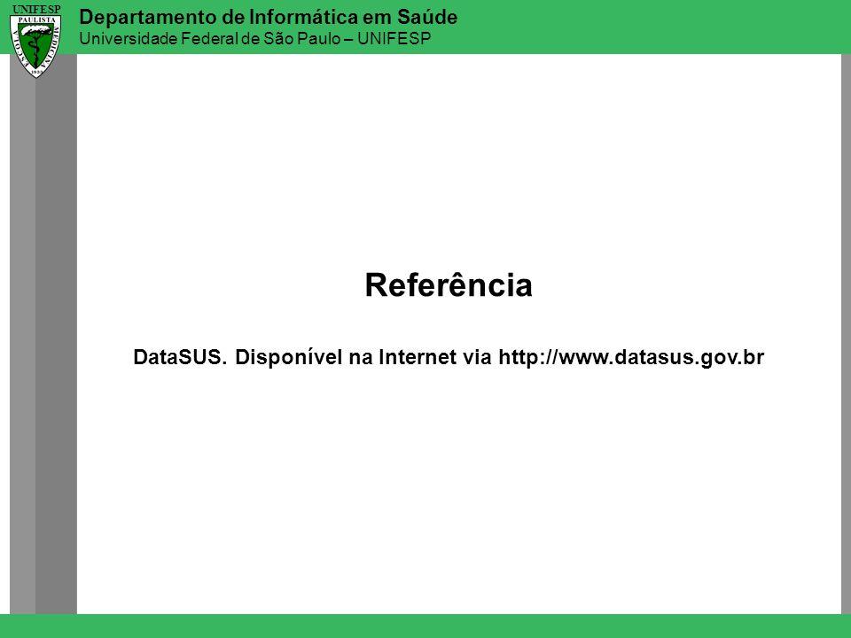 Departamento de Informática em Saúde Universidade Federal de São Paulo – UNIFESP UNIFESP Referência DataSUS. Disponível na Internet via http://www.dat