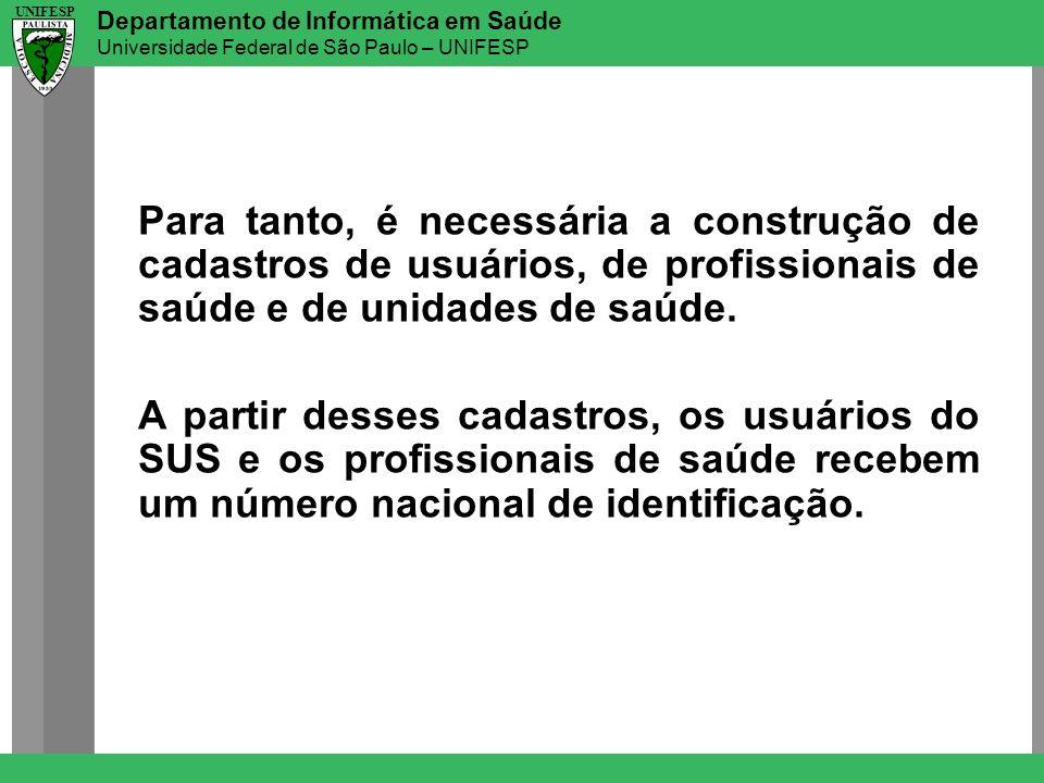 Departamento de Informática em Saúde Universidade Federal de São Paulo – UNIFESP UNIFESP Para tanto, é necessária a construção de cadastros de usuário