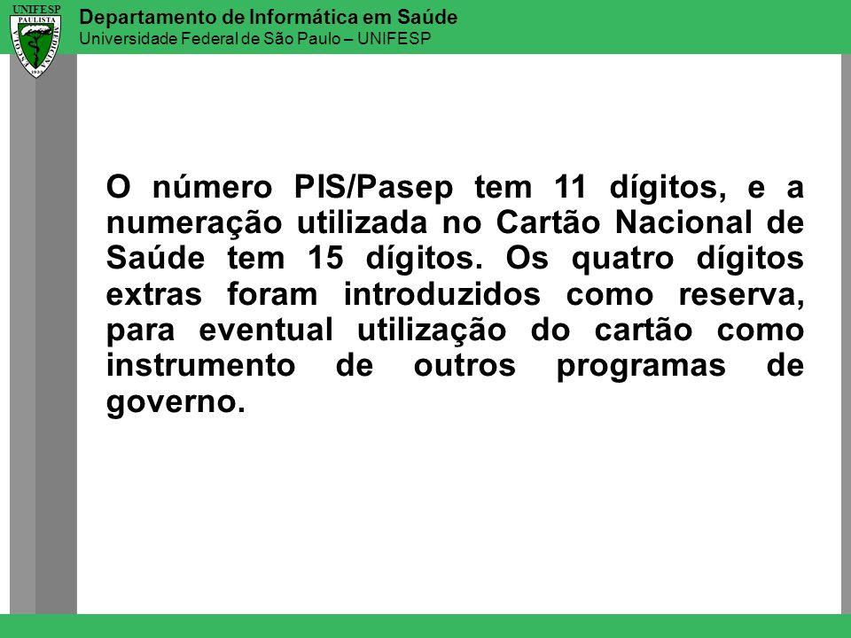 Departamento de Informática em Saúde Universidade Federal de São Paulo – UNIFESP UNIFESP O número PIS/Pasep tem 11 dígitos, e a numeração utilizada no