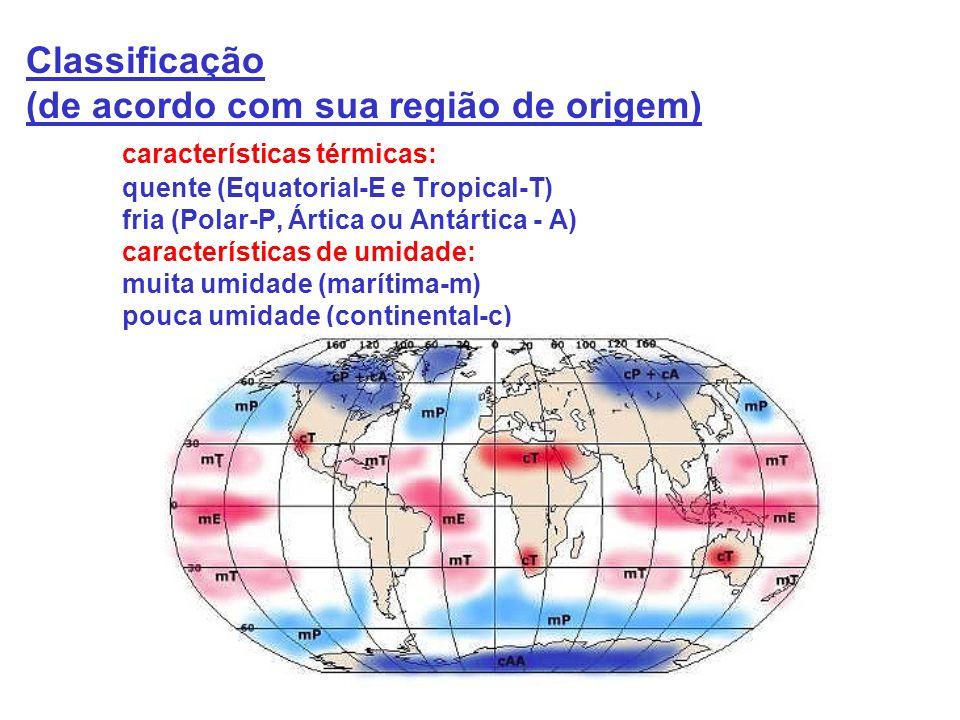 Classificação (de acordo com sua região de origem) características térmicas: quente (Equatorial-E e Tropical-T) fria (Polar-P, Ártica ou Antártica - A