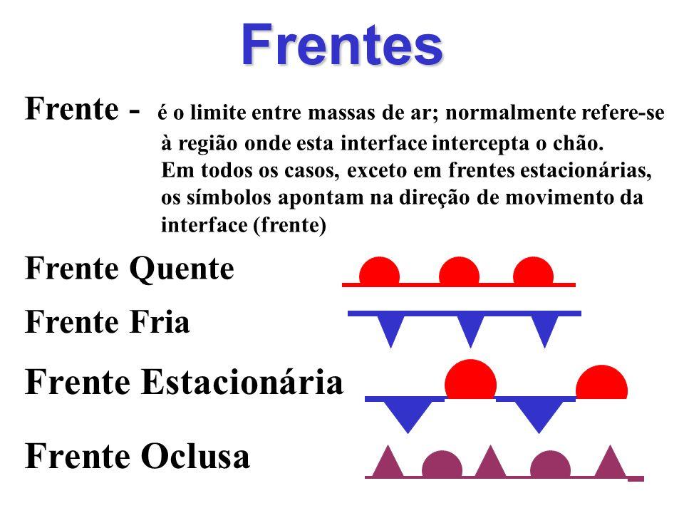 Frentes Frente Quente Frente Fria Frente Estacionária Frente Oclusa Frente - é o limite entre massas de ar; normalmente refere-se à região onde esta i
