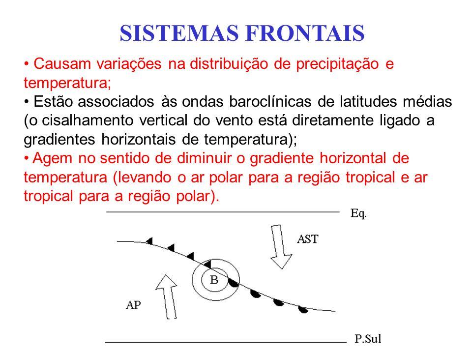 SISTEMAS FRONTAIS Causam variações na distribuição de precipitação e temperatura; Estão associados às ondas baroclínicas de latitudes médias (o cisalh