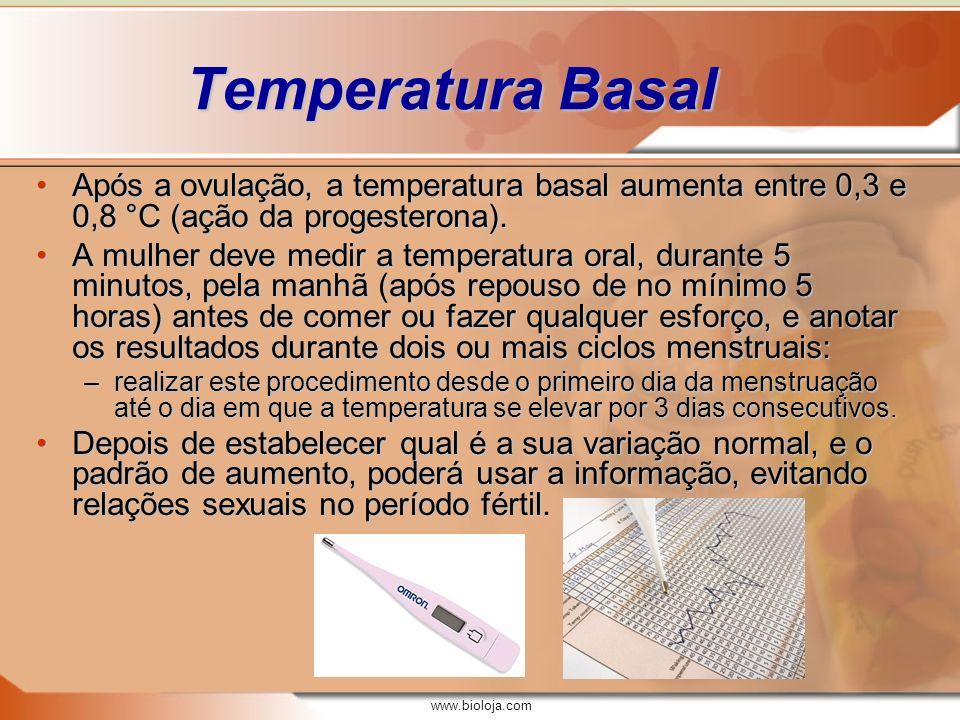 www.bioloja.com Temperatura Basal Após a ovulação, a temperatura basal aumenta entre 0,3 e 0,8 °C (ação da progesterona).Após a ovulação, a temperatur
