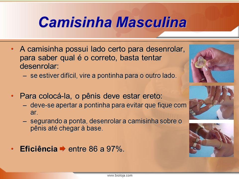 www.bioloja.com Camisinha Masculina A camisinha possui lado certo para desenrolar, para saber qual é o correto, basta tentar desenrolar:A camisinha po