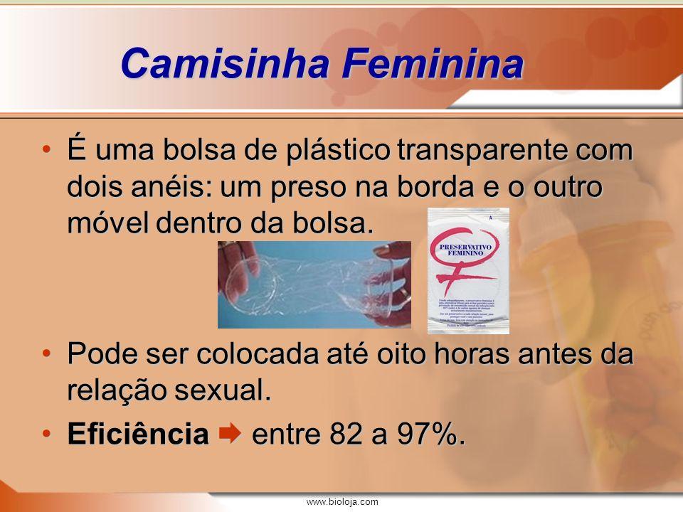 www.bioloja.com Camisinha Feminina É uma bolsa de plástico transparente com dois anéis: um preso na borda e o outro móvel dentro da bolsa.É uma bolsa