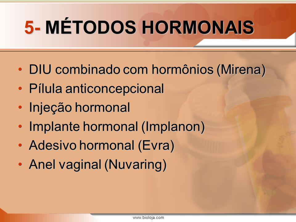 www.bioloja.com 5- MÉTODOS HORMONAIS DIU combinado com hormônios (Mirena)DIU combinado com hormônios (Mirena) Pílula anticoncepcionalPílula anticoncep