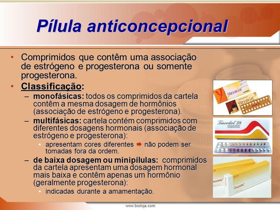 www.bioloja.com Pílula anticoncepcional Comprimidos que contêm uma associação de estrógeno e progesterona ou somente progesterona.Comprimidos que cont