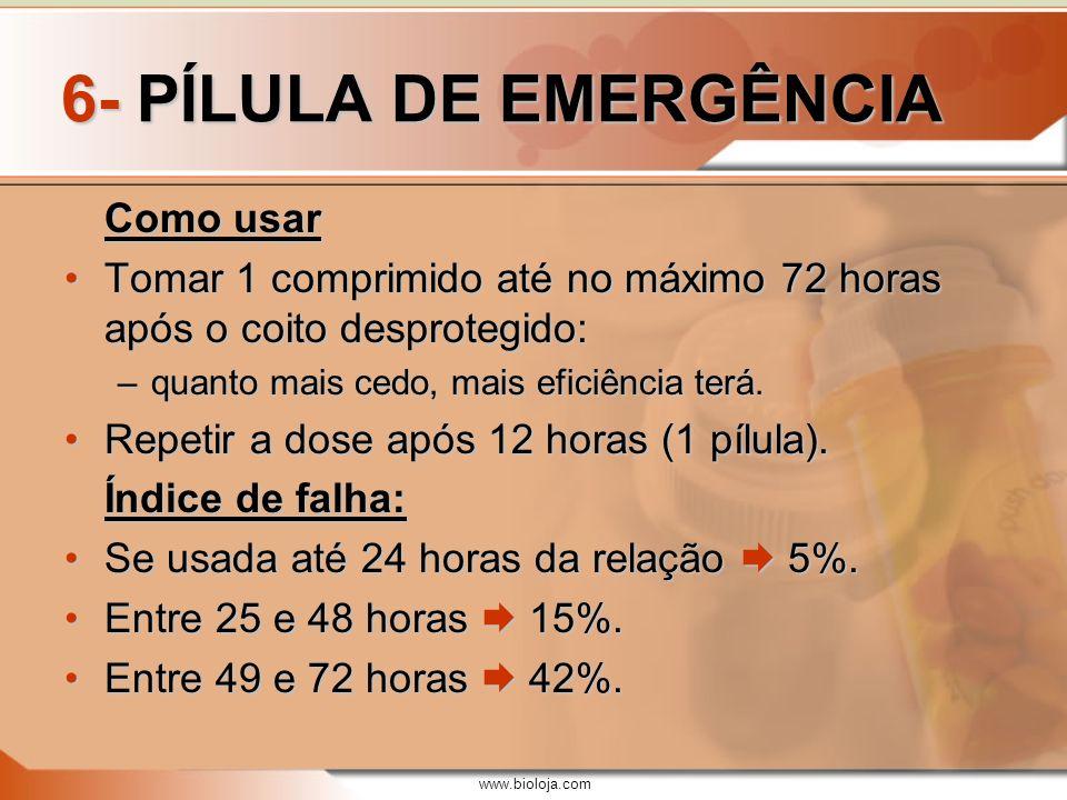 www.bioloja.com 6- PÍLULA DE EMERGÊNCIA Como usar Tomar 1 comprimido até no máximo 72 horas após o coito desprotegido:Tomar 1 comprimido até no máximo