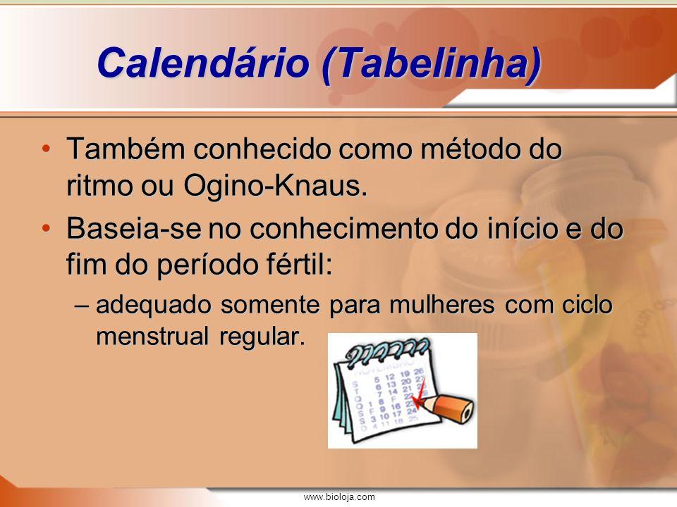 www.bioloja.com Calendário (Tabelinha) Sendo o primeiro dia da menstruação o primeiro dia do ciclo menstrual, temos:Sendo o primeiro dia da menstruação o primeiro dia do ciclo menstrual, temos: –a ovulação ocorre 14 dias antes da menstruação, independentemente do tamanho do ciclo; –portanto, se o ciclo menstrual tem uma duração de n dias, o possível dia da ovulação é n – 14; –para o cálculo do período fértil, devemos considerar também a viabilidade dos gametas: ~72 horas para espermatozóides e 24 horas para ovócitos II.~72 horas para espermatozóides e 24 horas para ovócitos II.