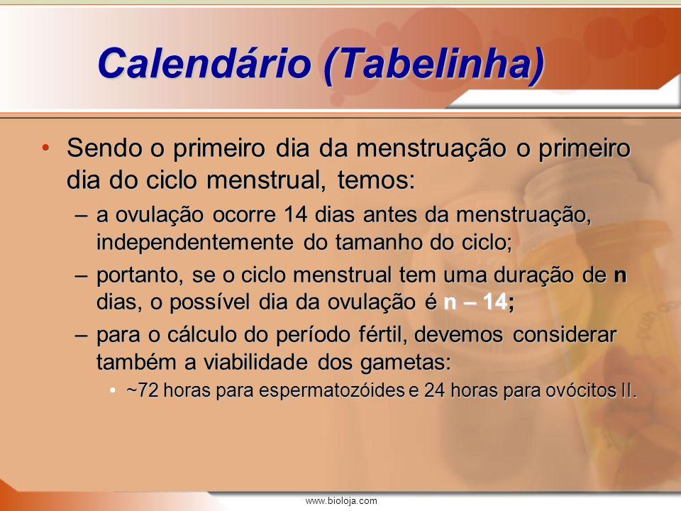 www.bioloja.com Calendário (Tabelinha) Sendo o primeiro dia da menstruação o primeiro dia do ciclo menstrual, temos:Sendo o primeiro dia da menstruaçã