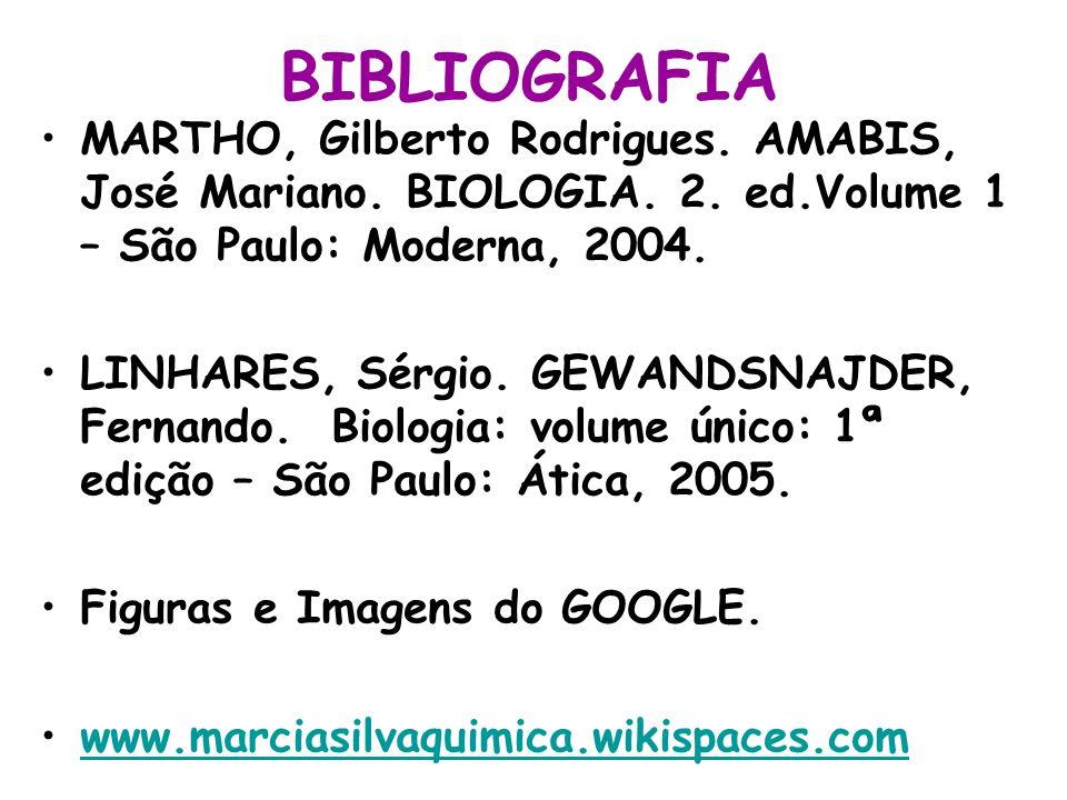 BIBLIOGRAFIA MARTHO, Gilberto Rodrigues. AMABIS, José Mariano. BIOLOGIA. 2. ed.Volume 1 – São Paulo: Moderna, 2004. LINHARES, Sérgio. GEWANDSNAJDER, F