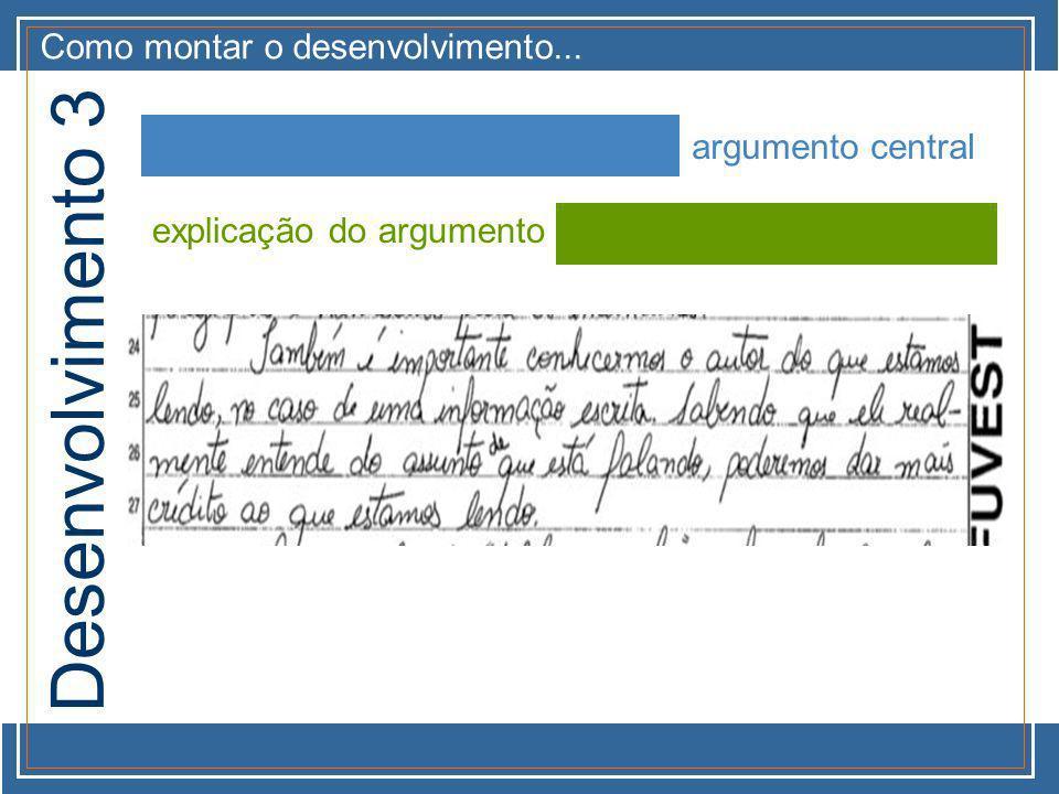 Como montar o desenvolvimento... argumento central explicação do argumento Desenvolvimento 3