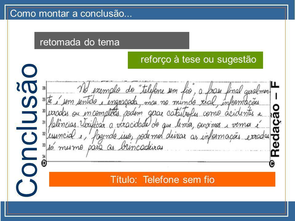 Como montar a conclusão... retomada do tema reforço à tese ou sugestão Conclusão Título: Telefone sem fio