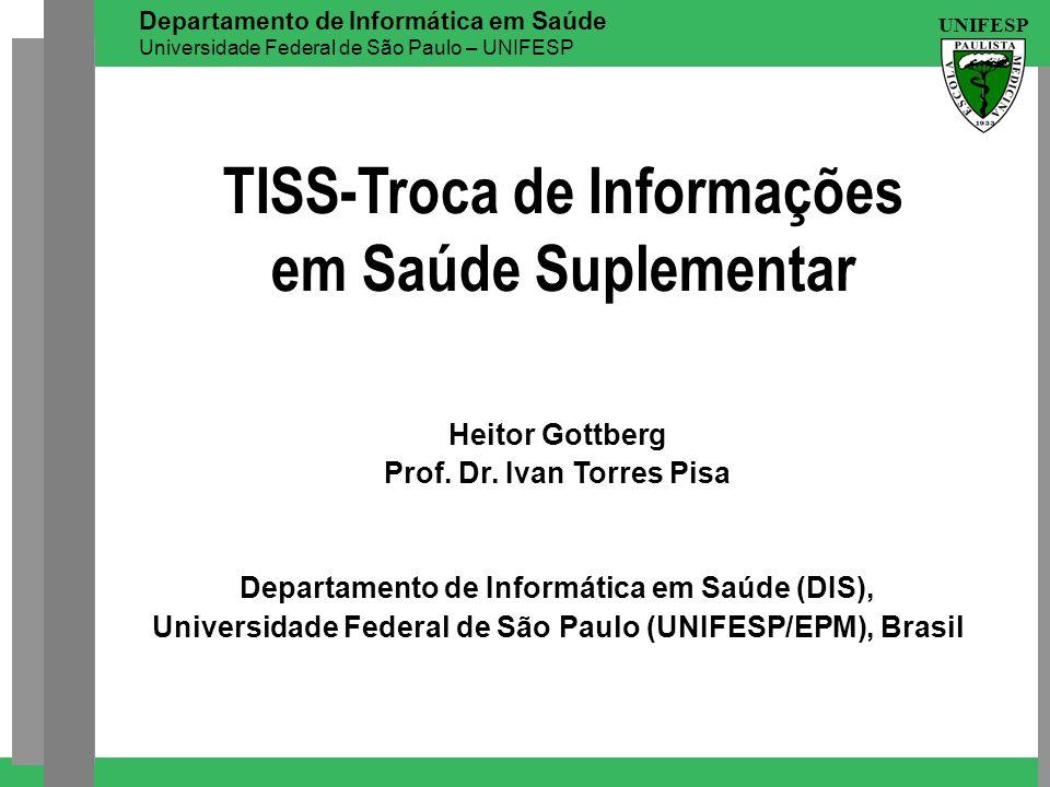 UNIFESP Departamento de Informática em Saúde Universidade Federal de São Paulo – UNIFESP TISS-Troca de Informações em Saúde Suplementar Heitor Gottber