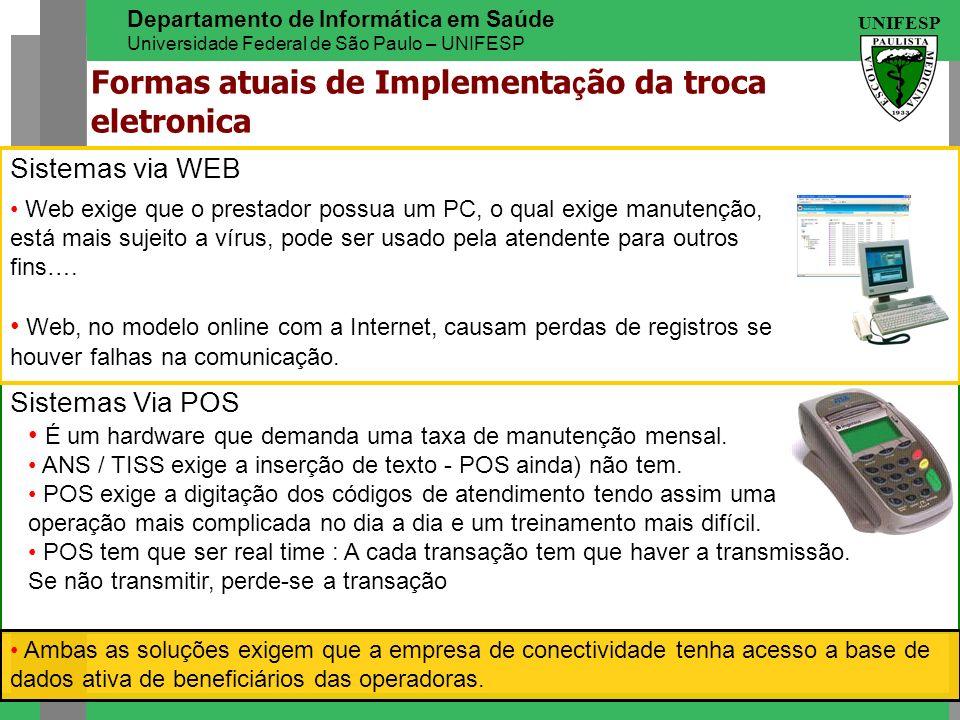 UNIFESP Departamento de Informática em Saúde Universidade Federal de São Paulo – UNIFESP Sistemas Via POS Sistemas via WEB Web exige que o prestador p