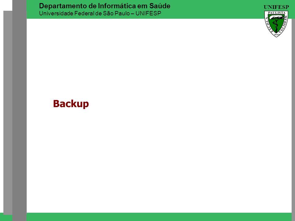 UNIFESP Departamento de Informática em Saúde Universidade Federal de São Paulo – UNIFESP Backup
