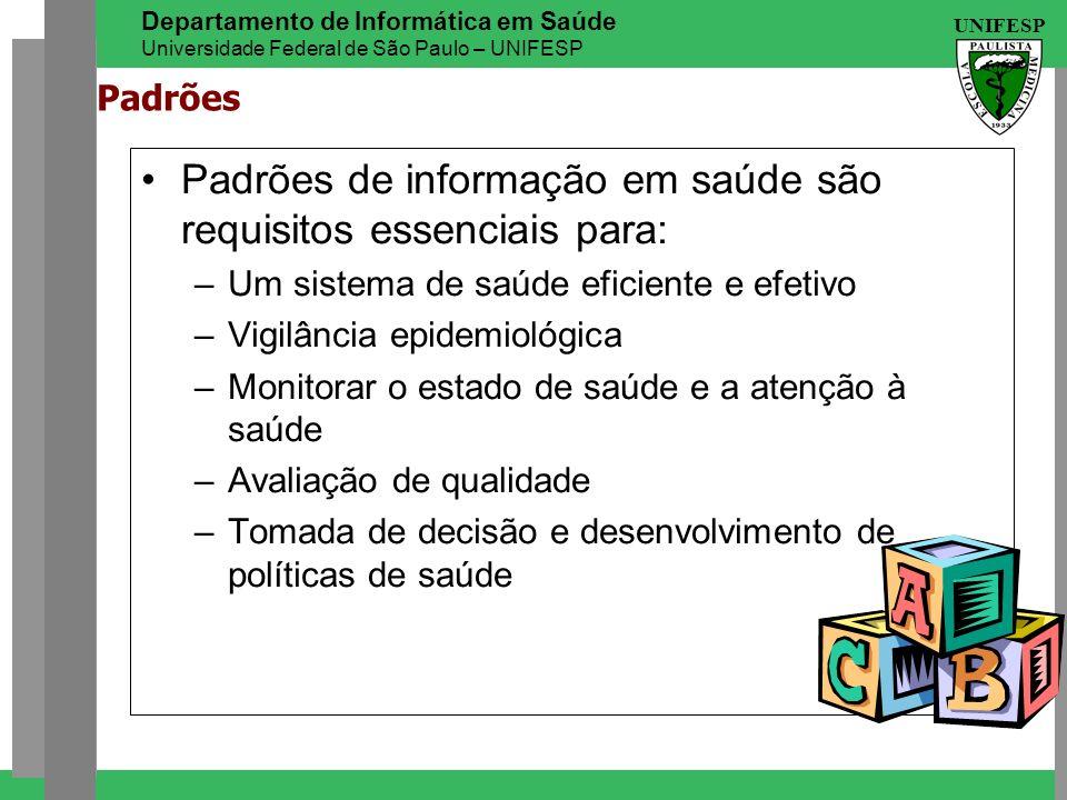 UNIFESP Departamento de Informática em Saúde Universidade Federal de São Paulo – UNIFESP Padrões Padrões de informação em saúde são requisitos essenci