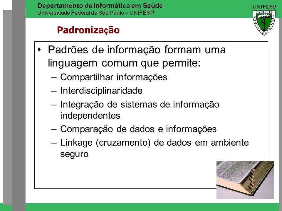 UNIFESP Departamento de Informática em Saúde Universidade Federal de São Paulo – UNIFESP Padroniza ç ão Padrões de informação formam uma linguagem com